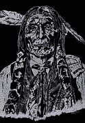 Etching Glass Art Prints - Chief Wolf Robe Print by Jim Ross