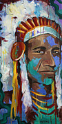 American Indian Portrait Prints - Chiefing Print by Julia Pappas