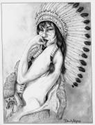Western Pencil Drawings Prints - Chiefs Woman Print by Derek Hayes