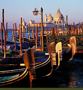 Italian Sunset Posters - Chiesa Della San Salute And Gondolas Poster by Brian Lawrence