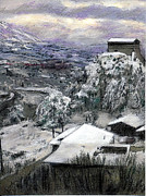 Village Pastels Prints - Chiesa San Vito In The Snow Print by Randy Sprout