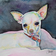 Pink Ears Prints - Chihauhau puppy Print by Christy  Freeman