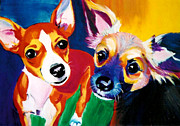 Chihuahua Colorful Art Prints - Chihuahua - Dos Perros Print by Alicia VanNoy Call