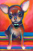 Chihuahua Framed Prints - Chihuahua dog portrait Framed Print by Svetlana Novikova