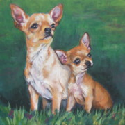 Chihuahua Paintings - Chihuahua Mom and pup by Lee Ann Shepard