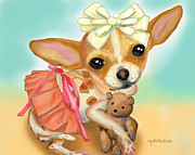 Catia Cho Metal Prints - Chihuahua Princess Metal Print by Catia Cho