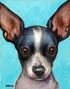Toy Dogs Posters - Chihuahua puppy with big ears Poster by Dottie Dracos