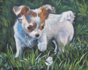 Chihuahua Paintings - Chihuahua Puppy With Butterfly by Lee Ann Shepard
