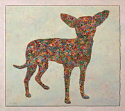 Color Field Drawings Posters - Chihuahua-shape Poster by James W Johnson