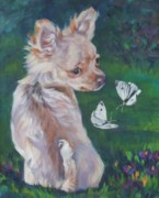 Chihuahua Paintings - Chihuahua With Butterflies by Lee Ann Shepard