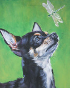 Dragonfly Paintings - Chihuahua with dragonfly by Lee Ann Shepard