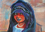 Middle East Painting Originals - Child Bride of the Sahara - Close Up by Avonelle Kelsey