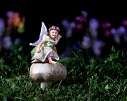 Purple Mushroom Photos - Child Fairy on Mushroom by Cindy Singleton