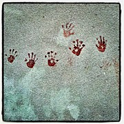 Child Photos - Child Hand Prints #red #white #wall by Invisible Man