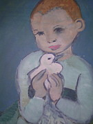 Depicting Paintings - Child holding dove by Rebecca Lilley
