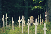 Sympathy Metal Prints - Child in Cemetery Metal Print by Jody Van Slembrouck
