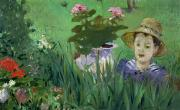 Sun Hat Posters - Child in the Flowers Poster by Edouard Manet