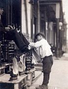 1910s Candid Framed Prints - Child Labor, Bootblack At 2 West 4th Framed Print by Everett