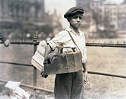 Lewis Wickes Hine Prints - Child Labor, Bootblack Near City Hall Print by Everett