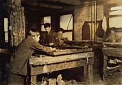 Lewis Wickes Hine Prints - Child Labor, Boys Linking Bed Springs Print by Everett