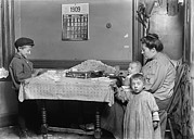 Lewis Wickes Hine Prints - Child Labor, Widow & Boy Rolling Papers Print by Everett