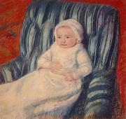 Innocence Child Metal Prints - Child on a Sofa Metal Print by Mary Cassatt