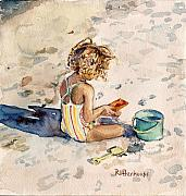 Shovel Painting Prints - Child Playing in the Sand Print by Suzanne  Frie