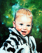 Children Action Paintings - Child Portrait by Hanne Lore Koehler