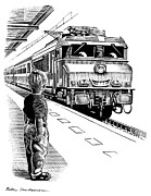 Linocut Prints - Child Train Safety, Artwork Print by Bill Sanderson