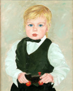 Grandson Framed Prints - Child with a Toy Framed Print by Ethel Vrana