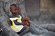 Child With Teddy Bear Prints - Child With Her Teddy Print by Kamel Rekouane