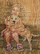 Labrador Mixed Media Framed Prints - Child With Pup Framed Print by Christine Marek-Matejka