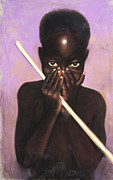 Black Art Pastels Framed Prints - Child with Stick Framed Print by L Cooper