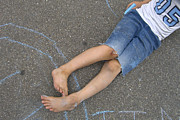 Two Feet Posters - Childhood - Boy draws with chalk Poster by Matthias Hauser