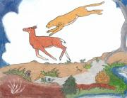 Wyoming Drawings - Childhood Drawing Cougar Attacking Deer by Dawn Senior-Trask