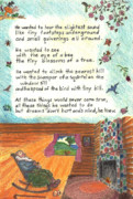 Mountain Cabin Drawings Posters - Childhood Poem and Illustration Poster by Dawn Senior-Trask