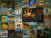 Log Cabin Art Paintings - Childhood Quilt by Dawn Senior-Trask