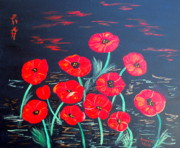 Alanna Hug-mcannally Metal Prints - Childlike Poppies Metal Print by Alanna Hug-McAnnally
