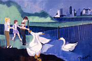 Park Scene Painting Originals - Children and Geese in Central Park 1971 by Betty Pieper