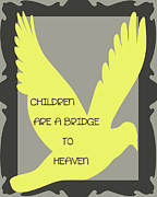 Yellow Bridge Digital Art Posters - Children are a Bridge to Heaven Poster by Nomad Art And  Design