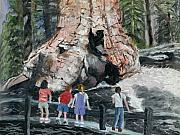 Sequoia Paintings - Children at Sequoia National Park by Quwatha Valentine