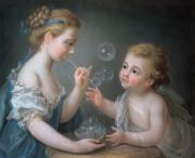 Pastel Portraits Framed Prints - Children blowing bubbles Framed Print by Jean-Etienne Liotard