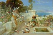 Doves Paintings - Children by the Mediterranean  by William Stephen Coleman