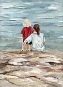 Waterscape Painting Metal Prints - Children By the Sea  Metal Print by Nancy Patterson