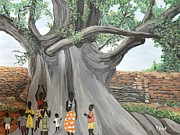 Baobab Paintings - Children by the Tree Burkina Faso Series by Reb Frost