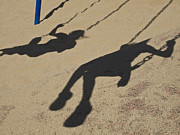 Ventura California Photos - Children Cast Body Shadows In The Sand by Stacy Gold