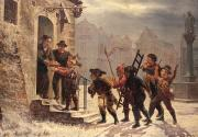Snow Scenes Art - Children collecting fruit at the door   by Leopold Til