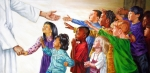 Children Paintings - Children Coming to Jesus by John Lautermilch