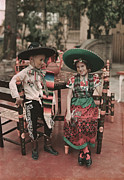 Mexican Fiesta Prints - Children In Costume Reenact Colonial Print by B. Anthony Stewart