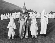 Race Discrimination Framed Prints - Children In Ku Klux Klan Costumes Pose Framed Print by Everett